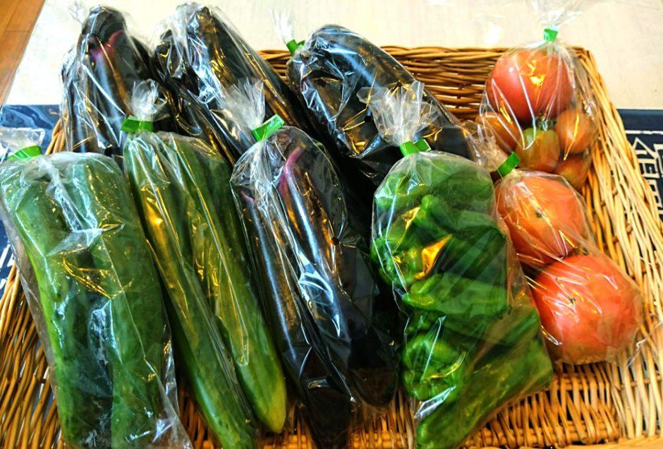 とれたて新鮮の夏野菜が並びます